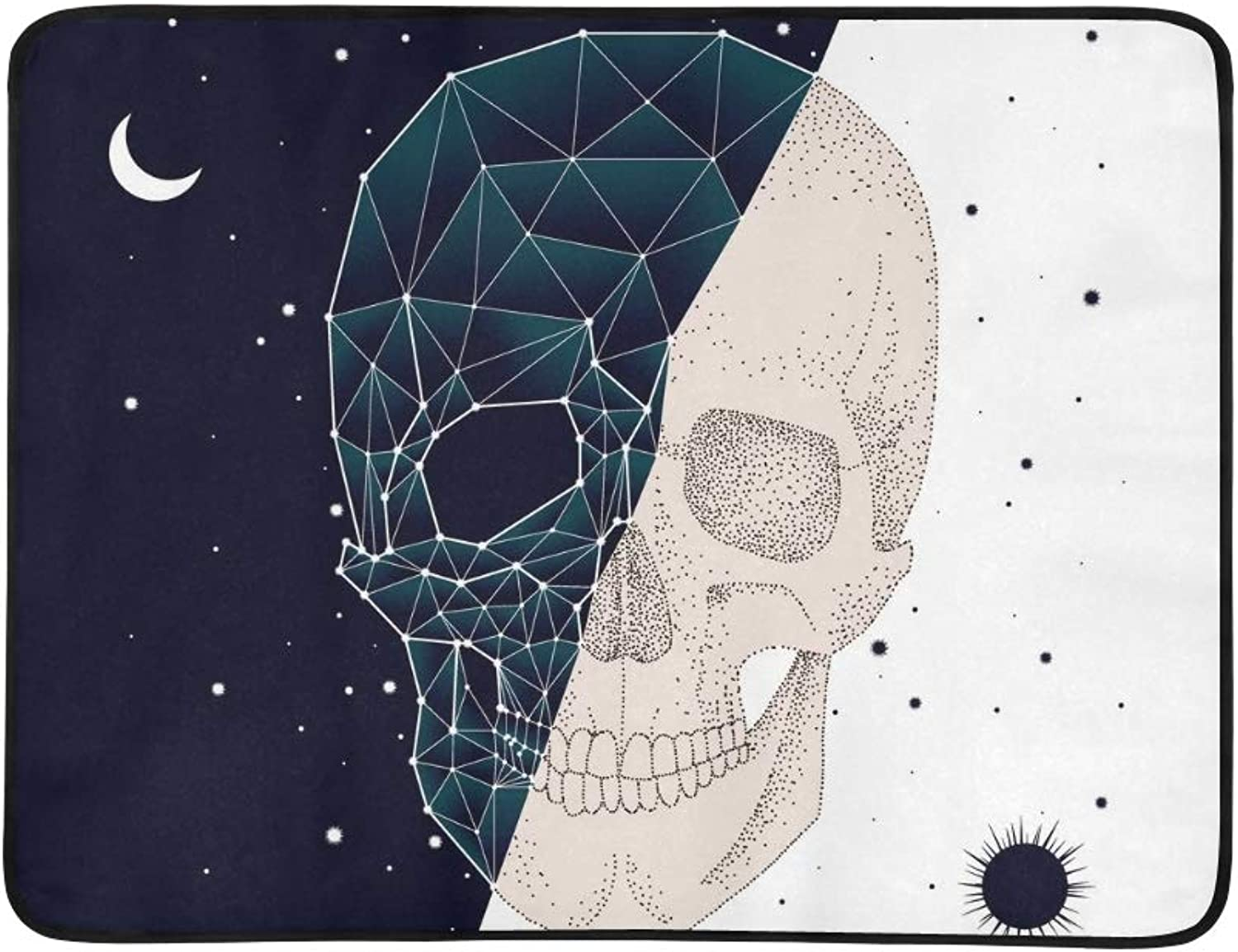 Constellation Skull Contrast Portable and Foldable Blanket Mat 60x78 Inch Handy Mat for Camping Picnic Beach Indoor Outdoor Travel
