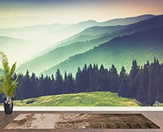 Colorful Foggy Mountain Misty Forest Peel and Stick Wallpaper | Removable Wall Mural. #6159 (9ft Tall X 4ft Wide)