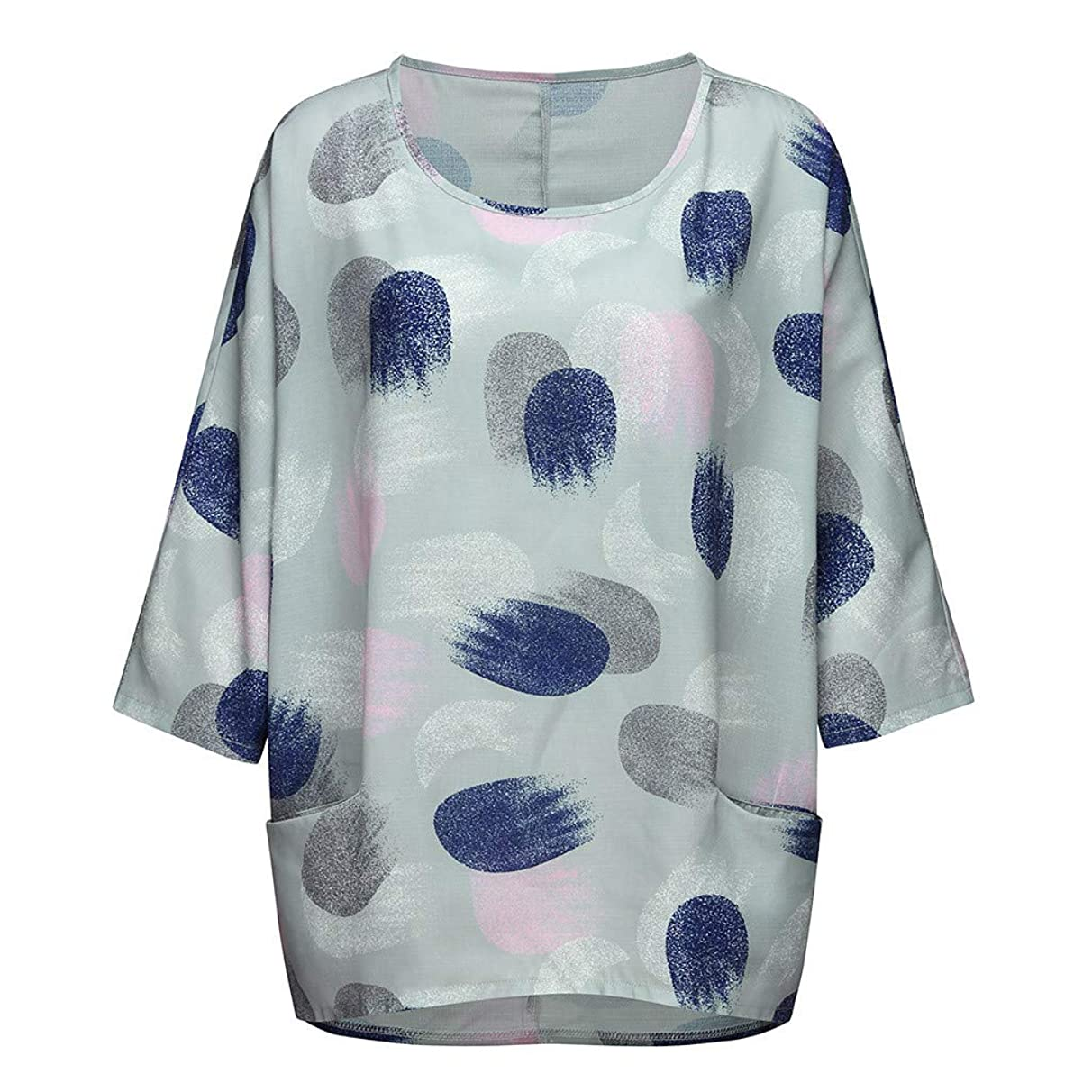 Eaktool Tank Tops for Women,Women Plus Size Print Batwing Sleeve Loose Blouse Tops Shirt with Pockets