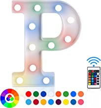 ZRO LED Letter Lights 16 Colors-Changing, 3D Night Lamp 26 Alphabet A-Z LED Marquee Sign with Remote Control for Christmas Decor Birthday Party Wedding Home Wall Hanging Bedroom Bar Decor (P)