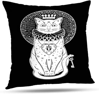 LALILO Throw Pillow Coversblack Cat Silhouette Portrait with Secret Key Moon Halloween Tattoo Double-Sided Pattern for Sofa Cushion Cover Couch Decoration Home Bed Pillowcase 18 x 18 Inch