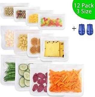 Bolsas Silicona Reutilizables,Bolsas de congelación,Bolsas Reutilizables para Fruta sándwiches Verduras,12 Piezas súper Grueso Sello Bolsas de Silicona sin BPA con 2 Deslizadores de Sellado.