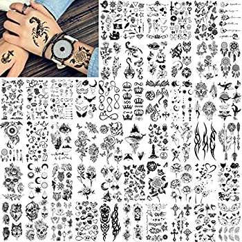FANRUI 52 Sheets Creative Black Tiny Crown Infinity Triangle Fake Tattoos For Men Women Realistic Stars Letters Tattoos For Kids Tattoos Temporary Waterproof Arm Hand Face Finger Neck Tatoo Stickers