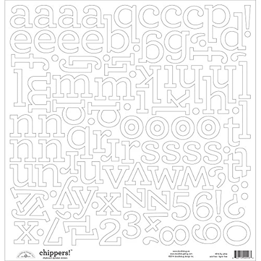 DOODLEBUG Chippers Monochromatic Chipboard Alphabet Stickers, 12-Inch by 12-Inch