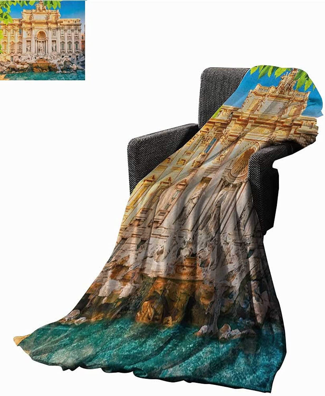 Sunsunshine Bed or Couch 60  x 35  Lightweight Blanket Fountain Di Trevi Famous Travel Destination Tourist Attraction European Landmark Print Summer Quilt Comforter Multicolor