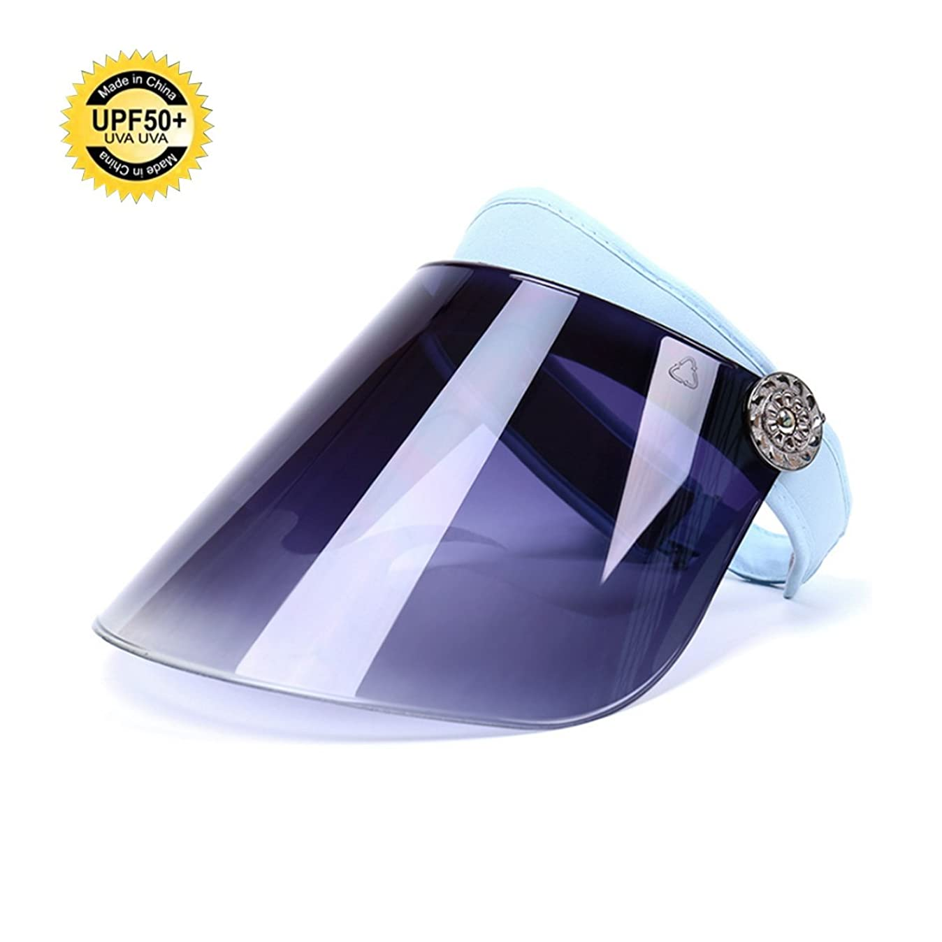 しないでくださいる最小化するACEON サンバイザー 日避け帽子 日焼け防止 紫外線対策 UVカット 美 容 肌の美白 自転車キャップ 夏 男女兼用 つば広 レインハット レインバイザー 360角度調整可能 高耐久性 フルフェイス (青い)