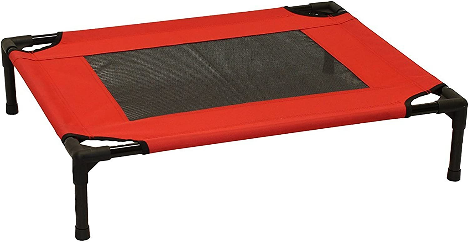 ALEKO EDB02SRED Luxury Elevated Pet Bed Steel Frame 24 x 19 x 7 Inches Red color