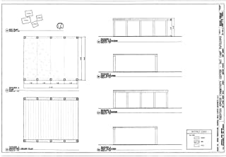 Historic Pictoric Structural Drawing Pavilion A, Elevations & Plans - Trenton Jewish Community Center, Day Camp Pavilions, 999 Lower Ferry Road, Ewing, Mercer County, NJ 66in x 44in