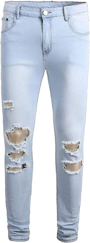 LLTT Mens Ripped Stretch Multi-Holes Jeans Detroit Mall Light-Colored Store Slim-Fi