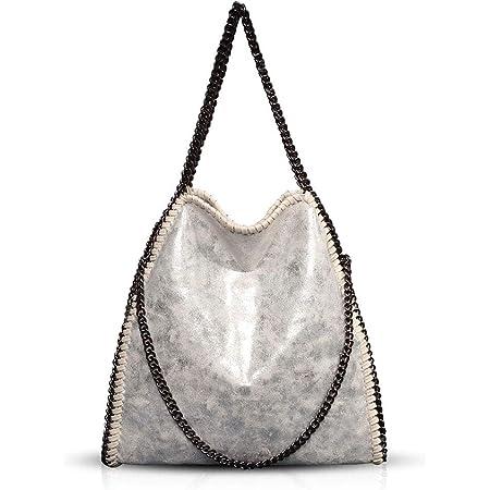 Umhängetaschen für Frauen Damen Kette Umhängetasche Kettentasche Taschen für Damen Casual Handtasche große Hobo Schultertasche(Silber)