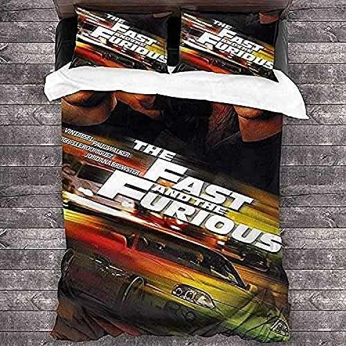 YRHAIR F-as-t & F-ur-io-us - Juego de ropa de cama Vin Diesel, funda de almohada de otoño, sábana de cama de cumpleaños (Furious 1,135 x 200 cm + 80 x 80 cm x 2)