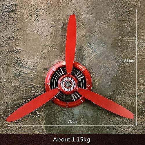 Flugzeug Kopf Propeller Wandbehang, Vintage Metall Wanduhr Ornament Schlafzimmer Flur Bar Wanddekoration Eisen Wandbehang,Rot,B70x65cm