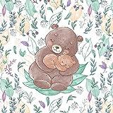 1 French Terry Panel mit Bären Familie | Frühlingsliebe |