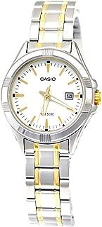 Casio Women's LTP1308SG-7AV Silver Stainless-Steel Quartz Watch with White Dial