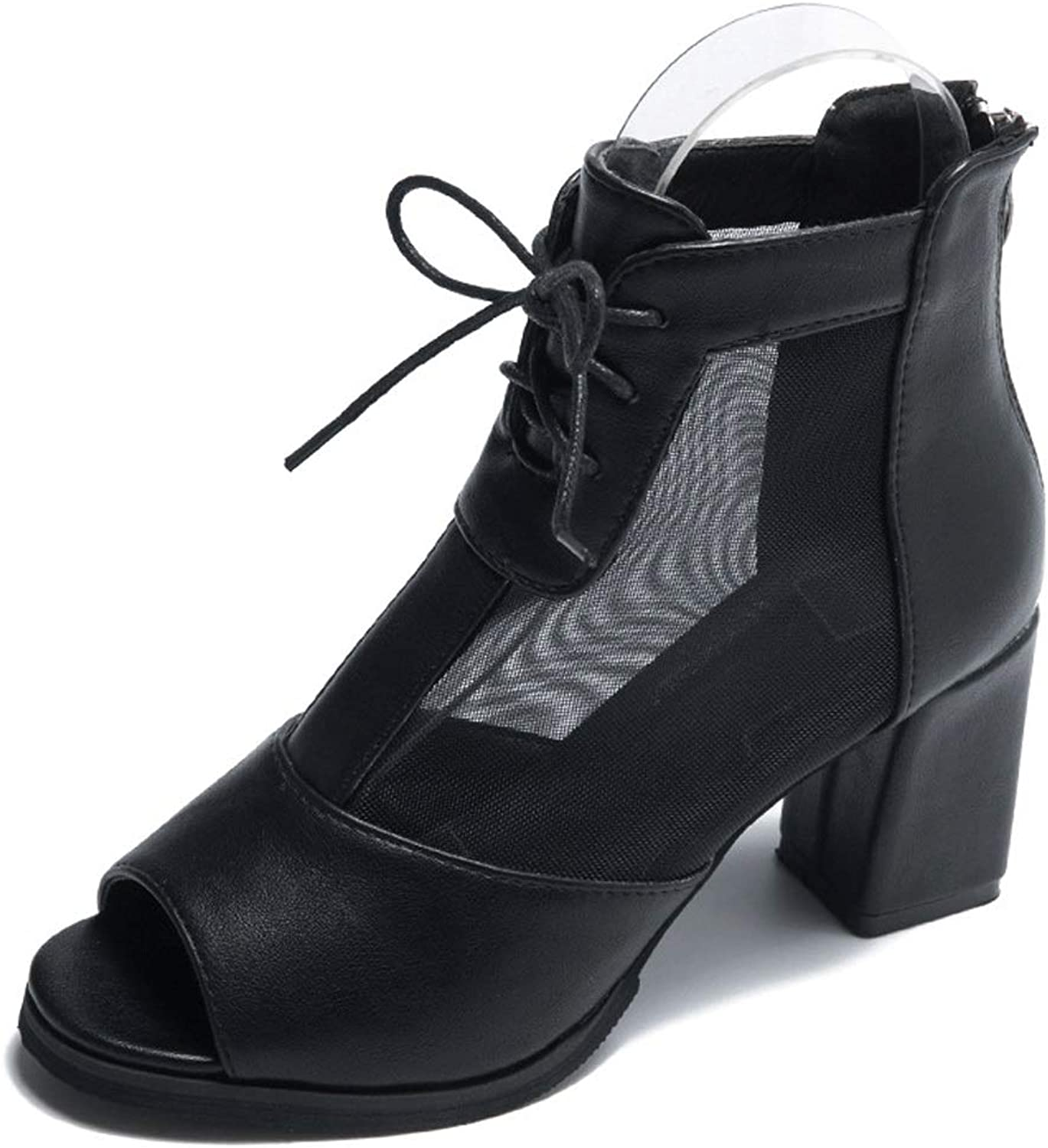 Sandals Female Summer Mesh High Heels Roman Thick with Back Zipper shoes (color   Black, Size   7.0 US)