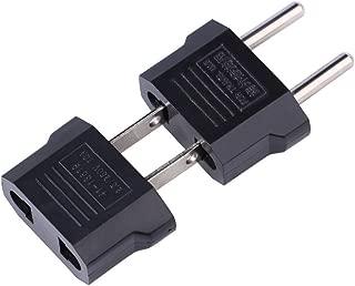 ANRANK Set of 2 EU to US Plug Adapter and US to EU Plug Adapter 2-pin Socket Adaptor Travel Converter Black