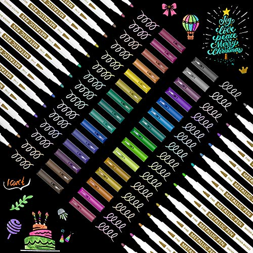 Metallic Marker Pens Shuttle Art 30 Colors Metallic Paint Markers with 1 Coloring Book Fine Point for DIY Card Calligraphy Art and Crafting Projects Works Great on Black Paper Scrapbooks Rock