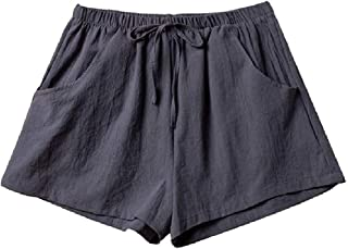Hmarkt Womens Beach Shorts Casual Pant Wide Leg High Rise Short Linen&Cotton