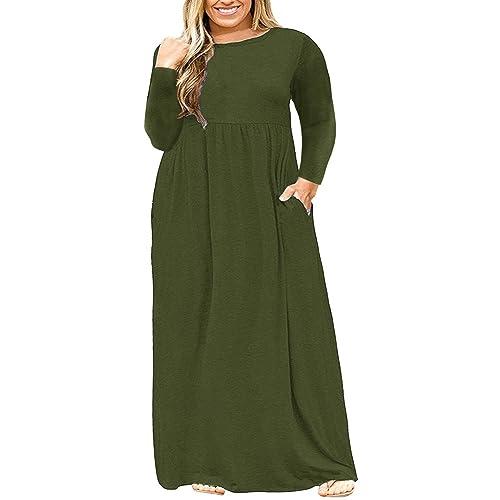 ed8c39c59b3 Ashuai Women s Autumn Plus Size Long Sleeve Plain Maxi T Shirt Dress with  Pockets