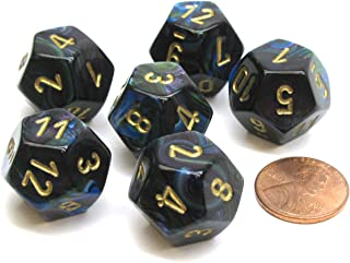 Chessex Lustrous 18mm 12 Sided D12 Dice, 6 Pieces - Shadow with Gold