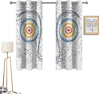 "Mozenou Psychedelic Sports Curtains Doorway Curtains Confused Man Portrait Human Face with Large Hypnotic Eyes Trance Hand Drawn Black Out Curtains Multicolor 63""x 63"""