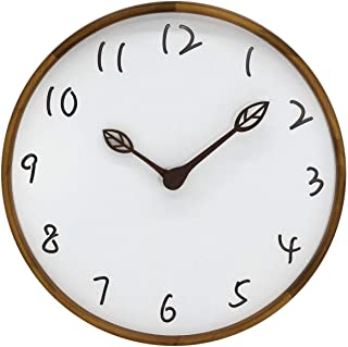AROMUSTIME 12 Inches Round Wood Wall Clock with Hollow Arabic Numerals, Whisper Quiet, Wood Leaf Pointer&No Glass Cover, for Office Kitchen Bedroom Classroom&Living Room, Brown