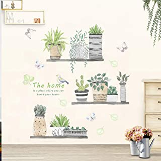 Green Plant Wall Decal Bonsai Flower Butterfly Cactus Wall Stickers DIY Mural Art Decoration for Living Room Bedroom Kitchen Nursery Home Decor (Potted Plant)