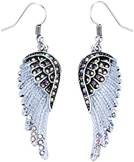Szxc Jewelry Women's Crystal Angel Wings Dangle Earrings Biker Jewelry