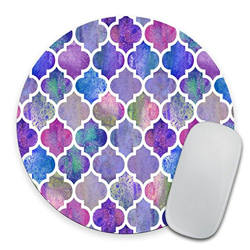 Colorful Pastel Watercolor Moroccan Pattern Prints Mouse Pad Small Size Round Gaming Non-Skid Rubber