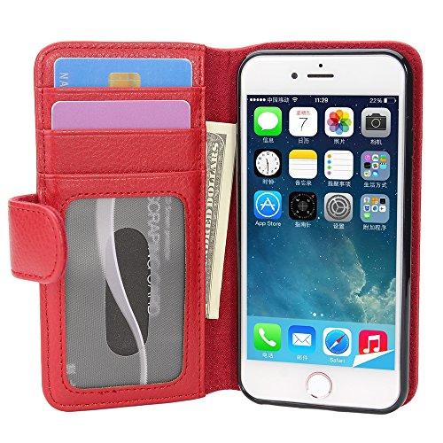 Cadorabo Funda Libro para Apple iPhone 7 / 7S / 8 / SE 2020 en Rojo Infierno - Cubierta Proteccíon con Cierre Magnético e 3 Tarjeteros - Etui Case Cover Carcasa