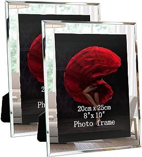 Picture Frames 8x10 Mirrored Edge Glass 2pcs Vertical Horizontal Desk Tabletop Standing Multi 10x8 Photo Frame Bulk Set