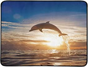 Beautiful Dolphin Leaping Jumping from Shining Sun Pattern Portable and Foldable Blanket Mat 60x78 Inch Handy Mat for Camping Picnic Beach Indoor Outdoor Travel