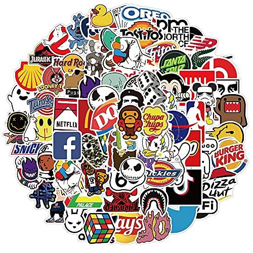 HENJIA 50 Pezzi Cool Marchio Logo Adesivo Adesivo Skateboard Telefono Cellulare Chitarra Bagaglio Fai da Te Impermeabile Graffiti Adesivo Giocattoli per Bambini