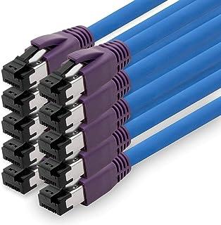 1aTTack.de 1,5 m Cat.8 nätverkskabel CAT8 kabel CAT 8 2000 MHz 40 Gbit s 40 GBase-T high end POE + patchkabel Ethernet-kab...