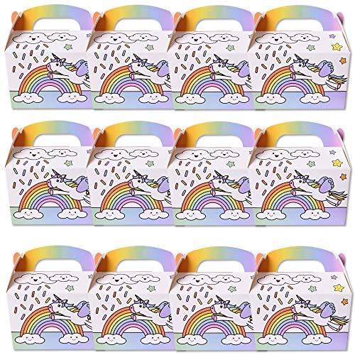 TE-Tend 12 Stück Einhorn Karton Box Geschenkbox Mitgebselbox Partyboxen Kindergeburtstag Mitgebsel Faltbox Mehrfarbig