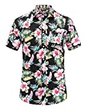 Janduakar Mens Casual Flower Print Hibiscus Short Sleeve Hawaiian Aloha Shirt (Blackflower,L)