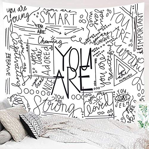 Miytal Quote You Are Wall Tapestry, Letter Wall Art Positive Saying Wall Hanging Large Wall Paper Décor for Dorm Bedroom Living Room 51.2'x 59.1""