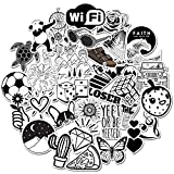 Black and White Stickers 50pcs, Cute Cartoon Vsco Stickers Pack for Water Bottle Laptop Car Cup Computer Guitar Skateboard, Waterproof Vinyl Decals for Teens, Girls, Kids