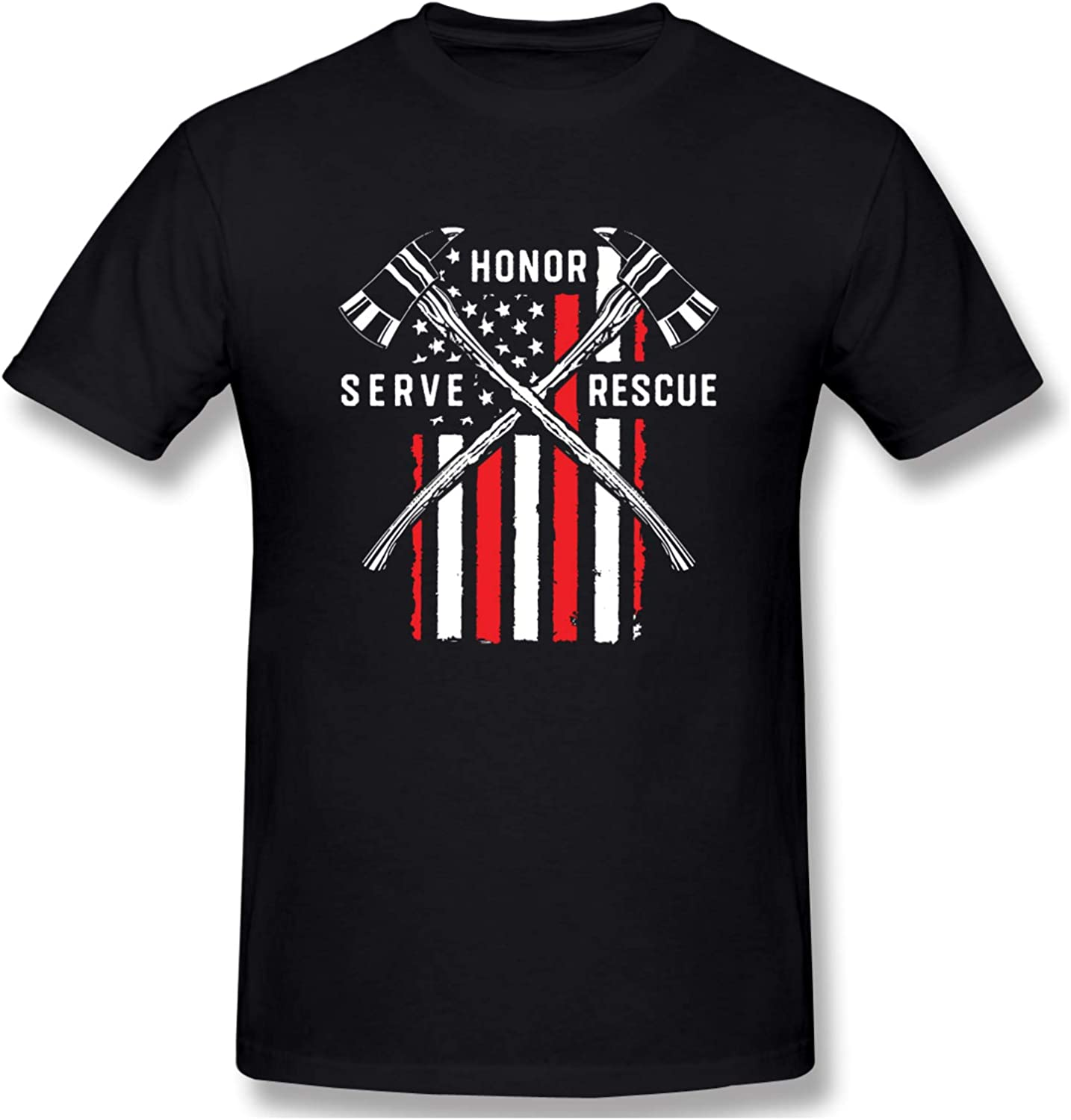 Firefighter Red Line American Flag Men's T-Shirts Short-Sleeve Crew Neck T Classic Tops Casual Shirt