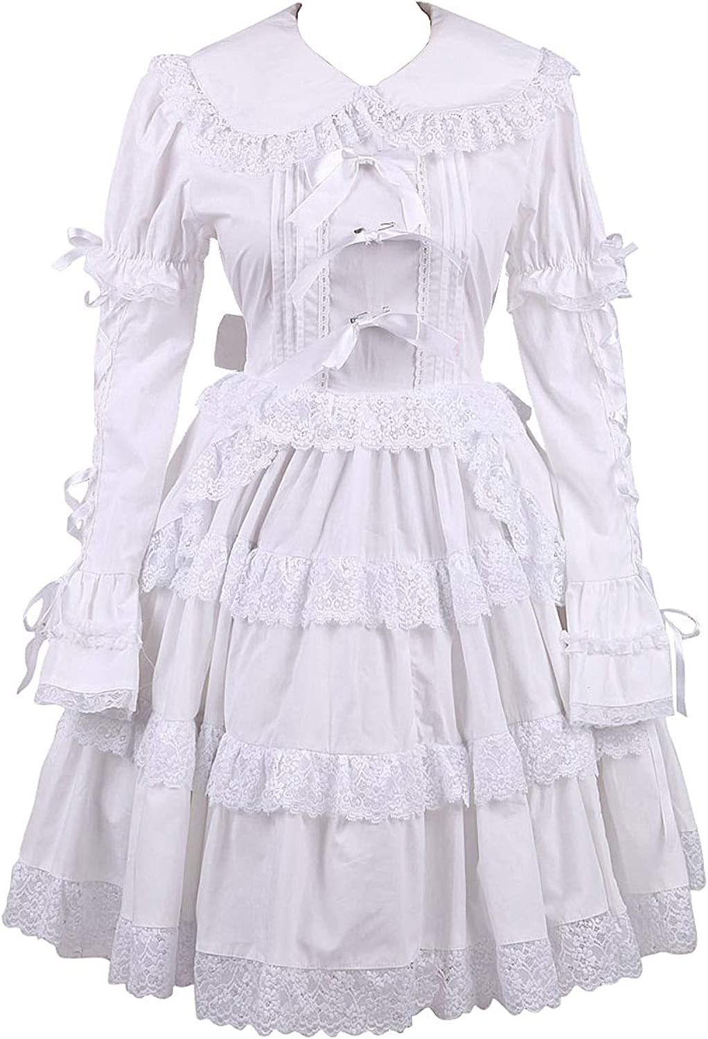 Antaina White Cotton Sweet Ruffle Lace Classic Victorian Lolita Cosplay Dress