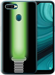 eSwish Gel TPU Phone Case/Cover for Oppo AX7/A7/A7n / Jedi Knight Green Design/Lightsaber Laser Sword Collection
