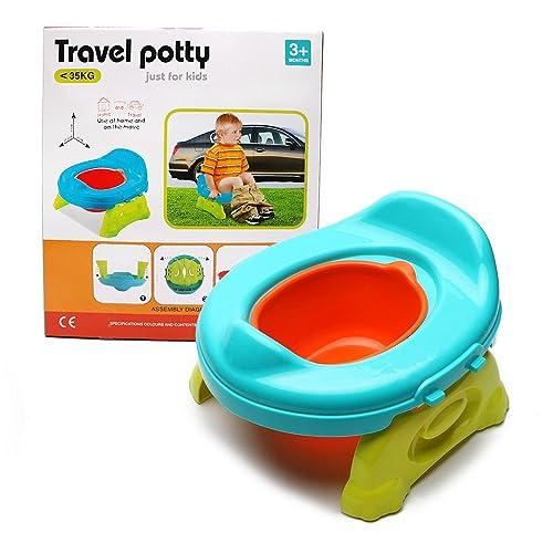 Bébé Toilette Siège de Pot - WISHTIME 2 en 1 Toilette Bebe Pot Réducteur de Toilettes Multi Fonction Portable Chambre Voiture Voyage pour Bébé Bambin Entraîneur de Propreté Cadeau pour Enfant