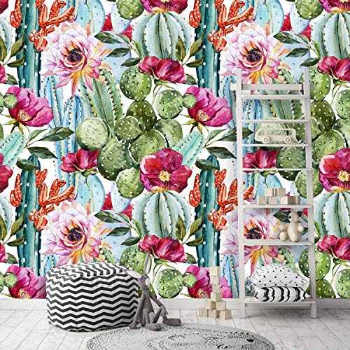 Removable Peel 'n Stick Wallpaper, Self-Adhesive Wall Mural, Watercolor Tropical Pattern, Nursery Decor • Tropical Flowers, Roses and Cactus (24'W x 60'H Inches)