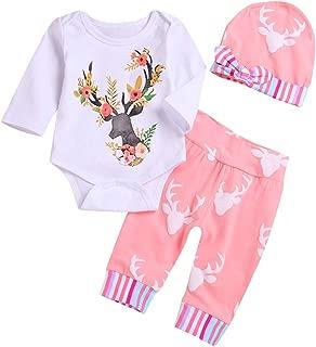 Newborn Girls Long Sleeve Deer Romper Tops Pink Pants Hat Outfits Set Onesies