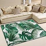 Use7 Alfombra tropical con hojas de palmera y hojas de selva, para sala de estar, dormitorio, 160 cm x 122 cm