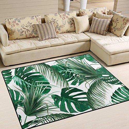 Use7 Alfombra de Palma Tropical, dise?o de Hojas de Jungla, Color Verde, para sal¨®n, Dormitorio, Tela, 203cm x 147.3cm(7 x 5 Feet)
