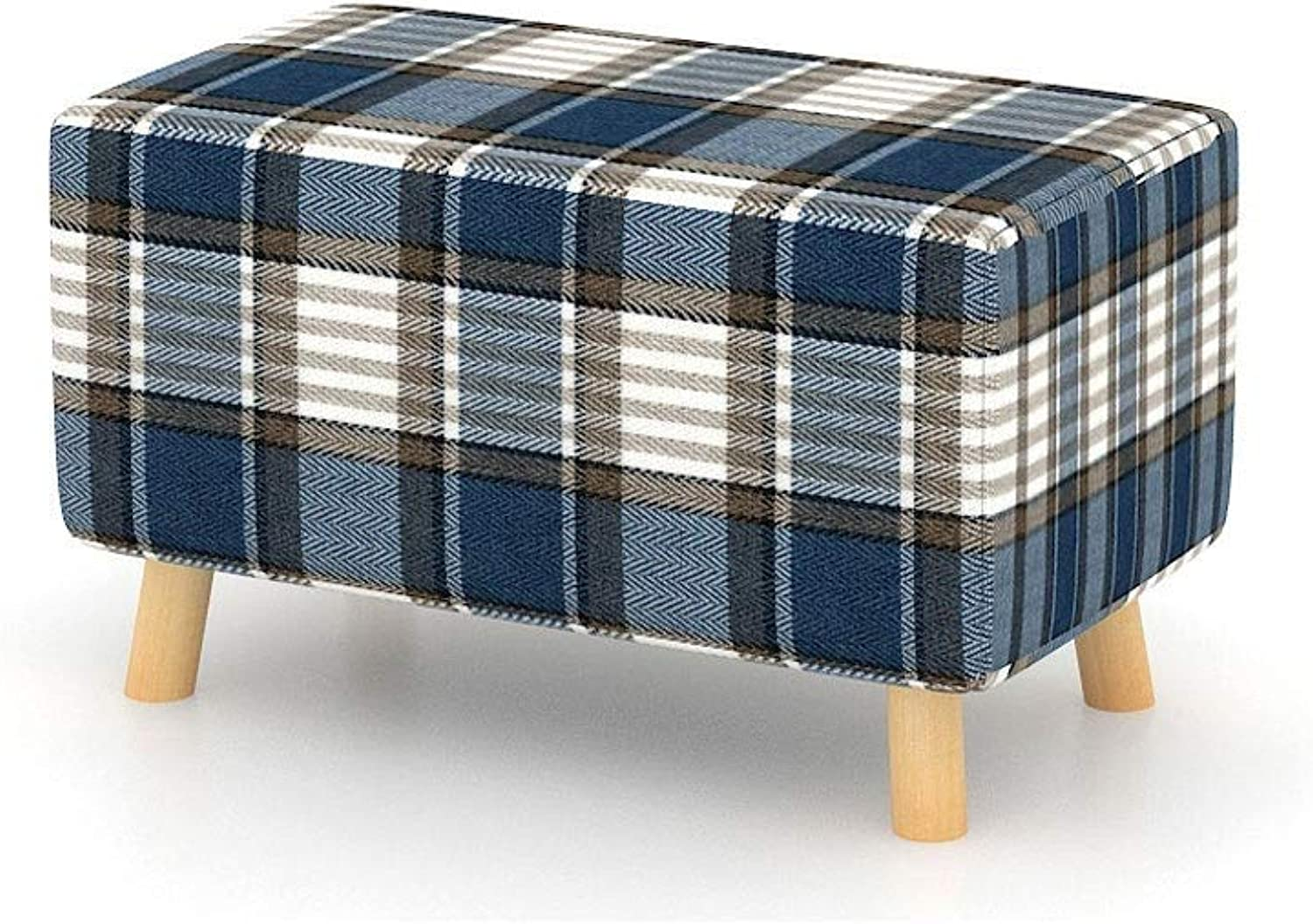 FS Solid Wood shoes Bench, Small Stool Solid Wood Living Room seat Bench Change shoes Stool Simple Creative Fabric Sofa Bench 56×32×28cm (color   Square)