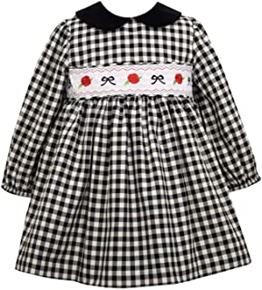 Bonnie Jean Holiday Christmas Dress - Smocked Black and White Check for Baby, Toddler and Little Girls