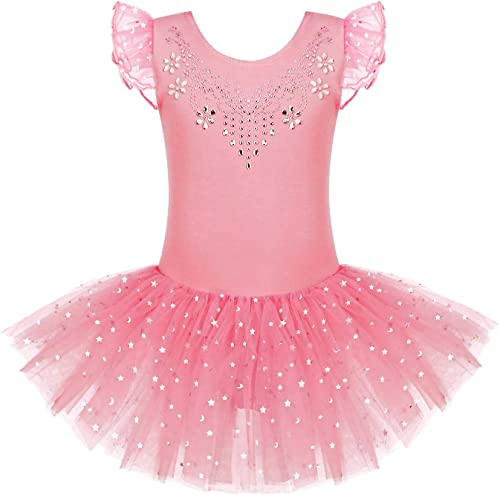 Zaclotre Kid Girls Ruffle Sleeve Ballet Skirted Leotard Shiny Dance Tutu Dresses