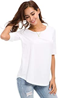 Women's Casual T Shirts Cotton Mid Sleeve Basic Tunics Tee Tops Solid